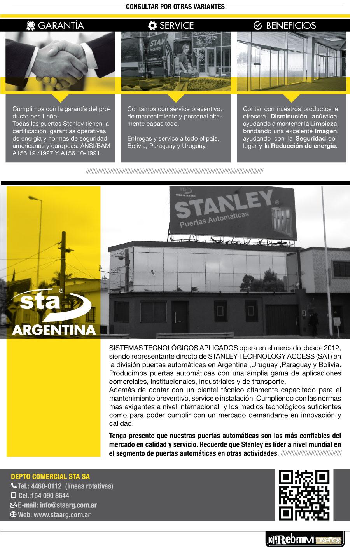 sta sistema tecnologico aplicados Stanley technology access stanley argentina puertas Duraglide automaticas deslizables corredizas